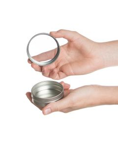 2 oz. Silver Tin Container with Window Lid