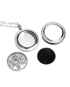 Interchangeable Design, Stainless Steel Crystals Locket, Diffusing Necklace