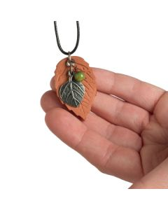 Terra-cotta Leaf Necklace with Silver Charm