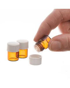 1/4 dram Amber Glass Vials, Orifice Reducers, and White Caps (Box of 144)