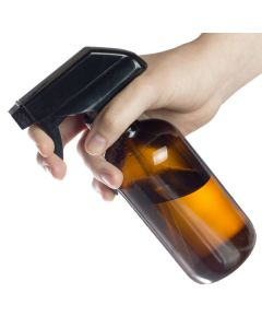 8 oz. Amber Glass Bottle with Black Trigger Sprayer