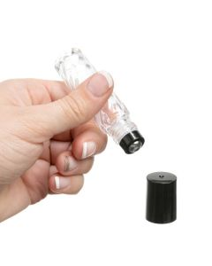1/3 oz. Clear Swirled Glass Vials with Metal Roll-ons and Black Caps (Pack of 6)