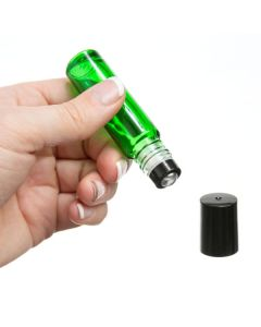 1/3 oz. Green Glass Bottles with Metal Roll-ons and Black Caps (Pack of 6)