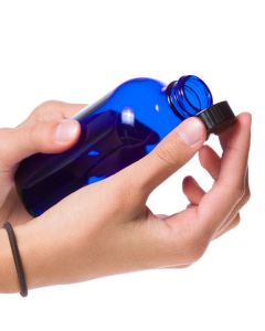 8 oz. Blue Glass Bottle with Black Cap