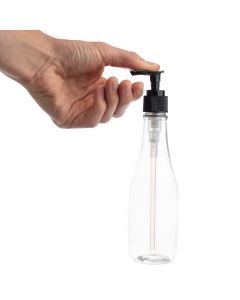 8 oz. Clear PET Plastic Woozy Bottle with Black Pump