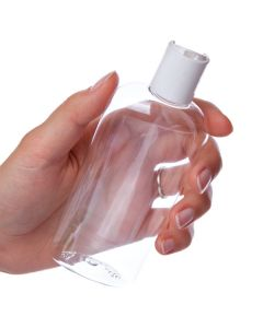 4 oz. Clear Oval Plastic Bottle with White Disc-Top Cap