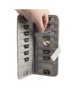 Gray Folding Pill Travel Case (Includes 14 Pill Bags)