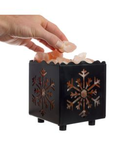Himalayan Salt Lamp with Snowflake-cut Cube Basket