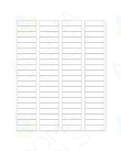 "Blank White Laser Printer Labels: 1-3/4"" x 1/2"" (Sheet of 80 for 5/8 Dram Vials)"