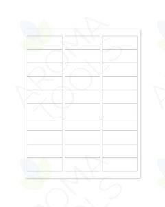 "Blank White Laser Printer Labels: 2⅝"" x 1"" (Sheet of 30 for 5, 10, and 15 ml Vials)"
