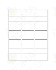 "Blank Clear Printer Labels: 2⅝"" x 1"" (Sheet of 30 for 5, 10, and 15 ml Vials)"