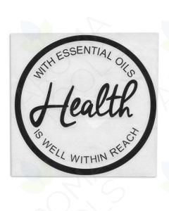 """With Essential Oils Health Is Well Within Reach"" Vinyl Sign (8"" x 8"")"