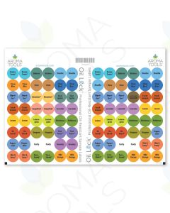 Oil Lock Circle Labels for Sample Vials of 24 Most Popular Oils and Blends (Set of 96)