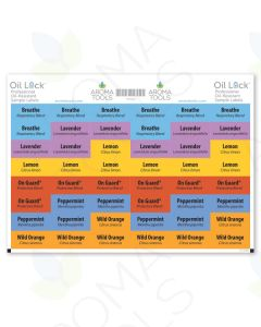 Oil Lock Sample Vial Rectangle Labels for 6 Most Popular Oils (Set of 48)