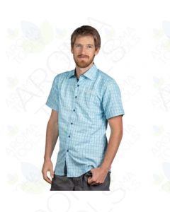 Men's LIGHT BLUE SQUARES, Embroidered  doTERRA Logo - Modern Fit Button Up Short Sleeve Shirt