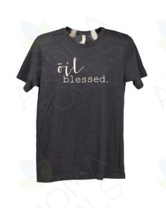 "Unisex Heathered Navy ""Oil Blessed"" Short-Sleeve Shirt"