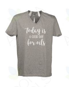 "Unisex Charcoal Gray ""A Good Day for Oils"" V-Neck Short-Sleeve Shirt"