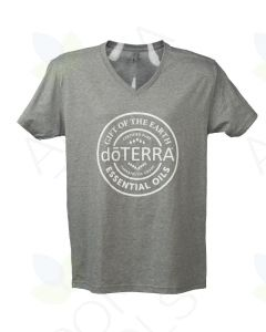 Unisex Heathered Gray doTERRA Seal V-Neck Short-Sleeve Shirt