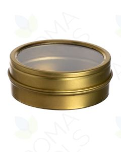 2 oz. Gold Tin Container with Window Lid