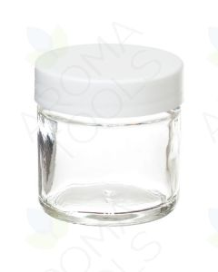1 oz. Clear Glass Salve Container with White Lid
