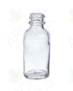 1 oz. Clear Glass Boston Round Bottle (20-400 Neck Size)