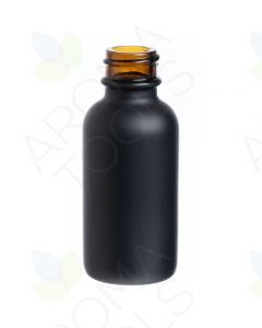 1 oz. Black Glass Boston Round Bottle (20-400 Neck Size)