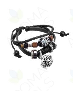 Black Boho Leather Bracelet with Locket and Aroma-balls