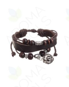 Brown Boho Leather Bracelet with Locket and Aroma-Balls