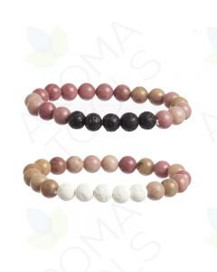 Crystal Bead and Lava Stone Diffusing Bracelet (Pack of 2)
