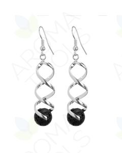 Swirled, Single-Stone Lava Rock Earrings