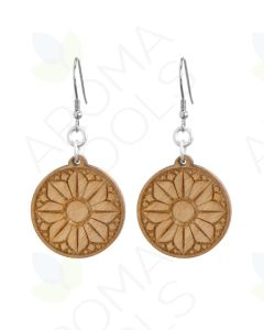 Round, Flower Wood Earrings