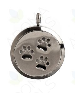 Stainless Steel, Paw Prints Locket Diffusing Necklace