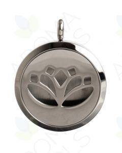 Stainless Steel, Lotus Flower Locket Diffusing Necklace