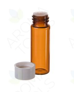 1 dram Amber Glass Vials, Orifice Reducers, and White Caps (Pack of 12)
