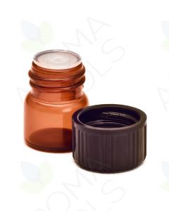 1/4 dram Amber Glass Vials, Orifice Reducers, and Black Caps (Pack of 12)
