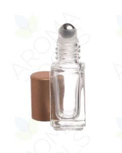 4 ml Clear Square Glass Vials with Metal Roll-ons and Matte Gold Caps (Pack of 6)