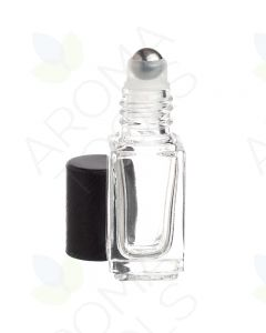 4 ml Clear Square Glass Vials with Metal Roll-ons and Matte Black Caps (Pack of 6)
