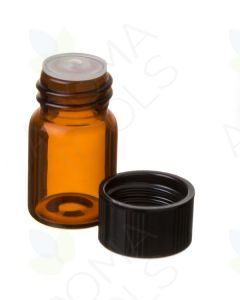 5/8 dram Amber Glass Vials, Orifice Reducers, and Black Caps (Pack of 12)
