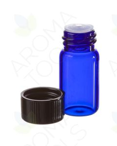 5/8 dram Blue Glass Vials, Orifice Reducers, and Black Caps (Pack of 6)