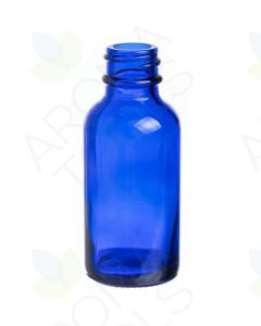 1 oz. Blue Glass Boston Round Bottle (20-400 Neck Size)