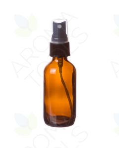 2 oz. Amber Glass Bottle with Black Misting Sprayer
