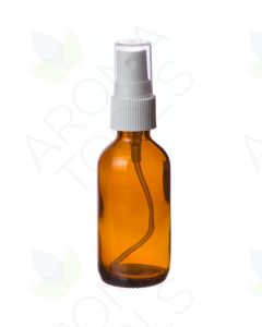 2 oz. Amber Glass Bottle with White Misting Sprayer