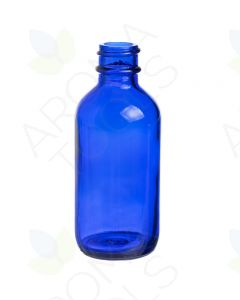 2 oz. Blue Glass Boston Round Bottle (20-400 Neck Size)