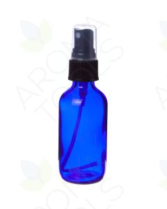 2 oz. Blue Glass Bottle with Black Misting Sprayer