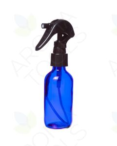 2 oz. Blue Glass Bottle with Black Trigger Sprayer