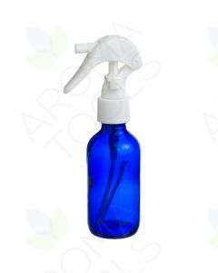 2 oz. Blue Glass Bottle with White Trigger Sprayer