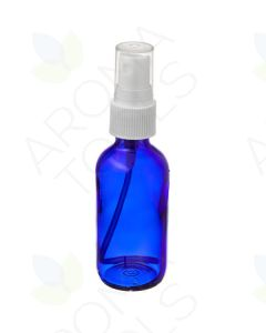 2 oz. Blue Glass Bottle with White Misting Sprayer