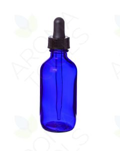 2 oz. Blue Glass Bottle with Dropper Cap