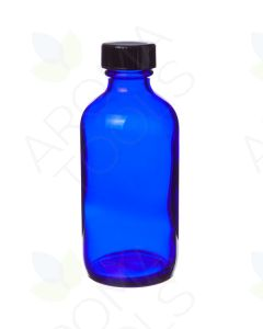 4 oz. Blue Glass Bottle with Black Cap
