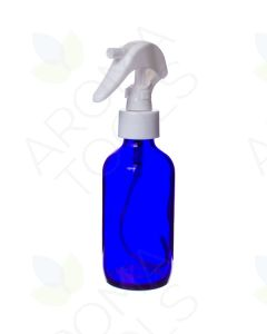4 oz. Blue Glass Bottle with White Trigger Sprayer